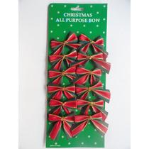 Cartela Com 12 Laços Enfeite De Árvore De Natal E Decoração