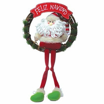 Guirlanda Coroa Natalina Papai Noel Pernas Compridas 35cm