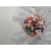 Bola De Natal 8 Cm Princesas + Laço Rosa 13cm (24 Unidades)