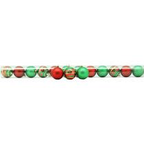 12 Bolas Decorativas Alças P/ Pendurar Vermelha/verde 6cm
