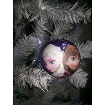 Bola De Natal Frozen 8cm + Laço Prata (24 Unid)