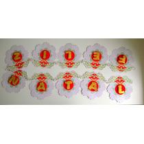 Faixa Feliz Natal 3d Decorado Glitter Branco E Vermelho
