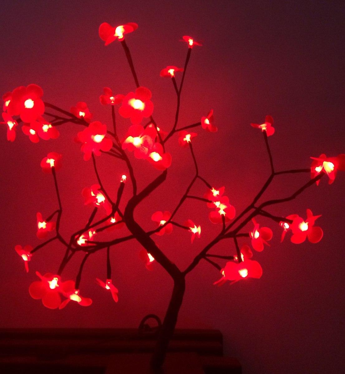 decoracao arvore de natal vermelha:Árvore Natal Decorativa Led Flor Vermelha Alt 60 Cm S/pisca – R$ 110