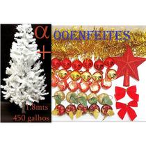 Árvore De Natal Branca Canadense 1,8m 450g+100enfeites.alfa.