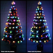 Arvore De Natal 90 Cm Fibra Otica E Led De Bolinhas Color