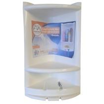 Porta Shampoo De Canto Branco Em Plástico Abs Frete Grátis