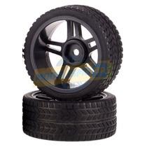 Par Rodas Estre Pret C/pneus Misto On-road 1/10 1/8 Sext12mm