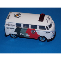 Viatura Vw Kombi Antiga Pmsp. Welly 1.64. Única Do Ml. Novo.