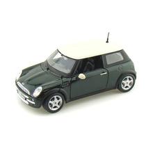 Miniatura Em Metal Carro Mini Cooper Verde 1:24 Frete Gratis