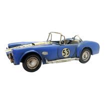 Miniatura De Carro Esportivo Azul Em Ferro