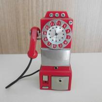 Orelhão Miniatura Em Ferro Com Relogio Cor Vermelho 8x4cm