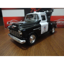 Miniatura Chevy Stepside Pick-up 1955 Policia 1:32 Kinsmart