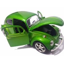 Carrinho Fusca De Ferro - Beetle Verde Metálico Rodas 1/32