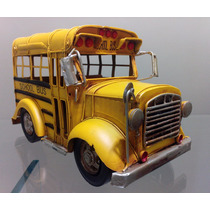 Super Ônibus Escolar Americano Retrô Em Metal 30,5 Cm Bpr