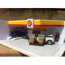 Diorama De Posto De Gasolina Shell Escala 1:64 Maquete 1/64