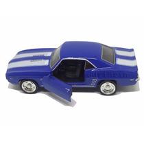Carrinho Camaro Ss Azul 1969 Miniatura 1/32 Ferro E Fricção