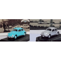 Miniatura Fusca Azul 1961 + Prata 1985 Inesquecíveis Brasil