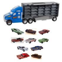Caminhão Carreta Expositor Miniaturas + 10 Hot Wheels Show