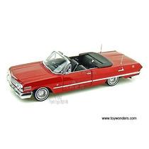 1/24 Impala 1963 V8 Conversivel Welly Gm Chevy Chevrolet Red