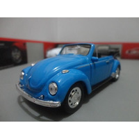 Miniatura Vw Fusca Beetle Conversivel Azul 1:36 Welly 11 Cm
