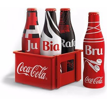 Miniatura Garrafinha Coca Cola + Engradado Mini Garrafa Leia