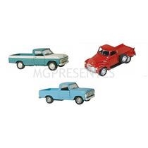 Kit Com 3 Miniatura Metal Caminhonetes Nacionais Ford Chevy