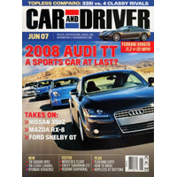 Car And Driver Jun/2007 Audi Tt Nissan 350z Ford Shelby Gt