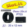 Autorama Pneu Silicone Slot.it S1 20x12mm Pt03 1 Par