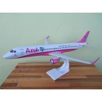 Avião Embraer 190 Azul Rosa Pink 23cm Miniatura Maquete