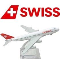 Avião Boeing 747 Swiss Airlines Miniatura 16cm