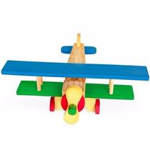 Avião Brinquedo De Madeira Colorido Bi Plano Em Mdf - Carlu