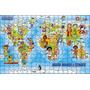 Quebra Cabeça Mapa Mundi E Etnias 300 Peças Mdf Carlu