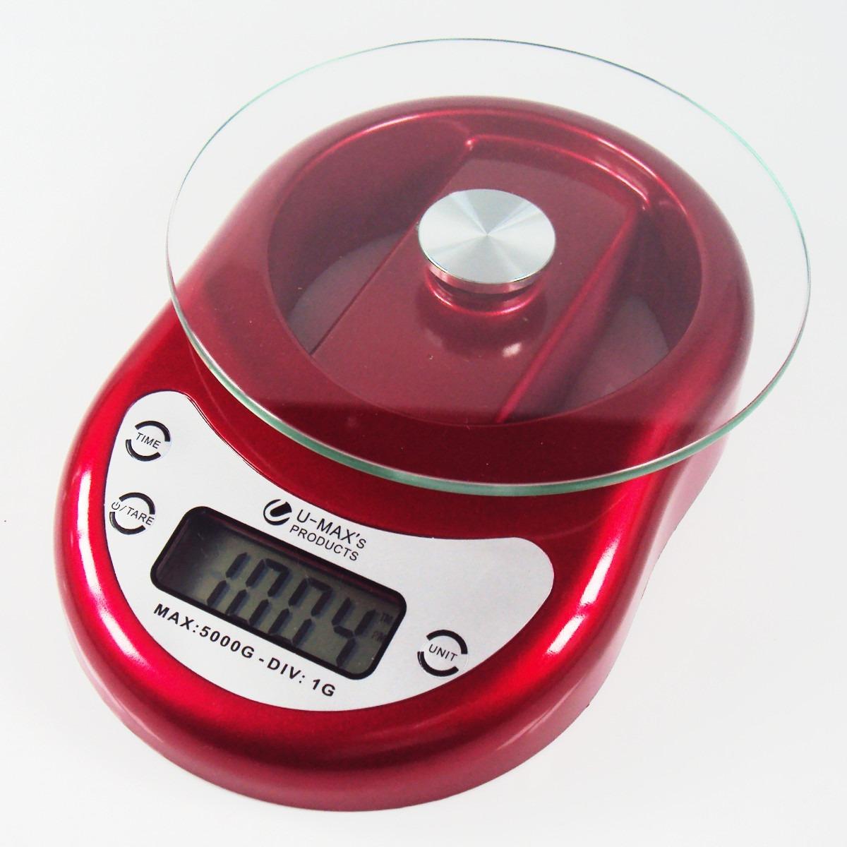 Balança De Cozinha Digital Com Relógio 5kg Vermelha Ek1 R$ 39 90  #B81330 1200x1200 Balança De Banheiro Mercadolivre