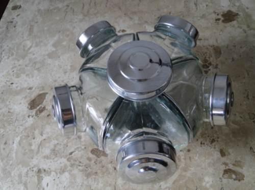 Baleiro Giratório Vidro 5 Potes 22cm Aluminio Bomboniere Mae