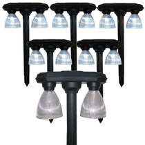 Luminaria Jardim Solar 4 Lampadas Leds Lumin Kit 6 Peças