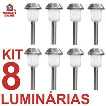 Kit 8 Luminárias Solares Led Inox. Poste Espeto Luz Jardim