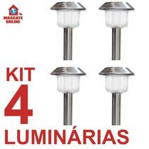 Kit 4 Luminárias Solares Led Inox. Poste Espeto Luz Jardim