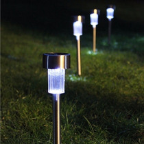Kit 2 Luminárias Led À Luz Solar Para Jardim Em Aço Inox