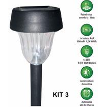 Luminária Solar Abs Luz Led Decorativa Jardim Gramado Kit 3