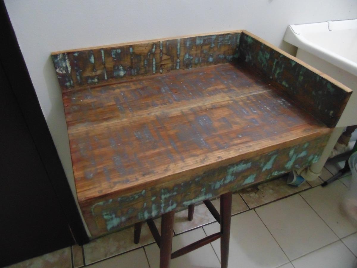 Bancada Lavabo Em Madeira De Demolição Banheiro Cuba R$ 189 90 no  #826549 1200x900 Bancada Banheiro Mercadolivre