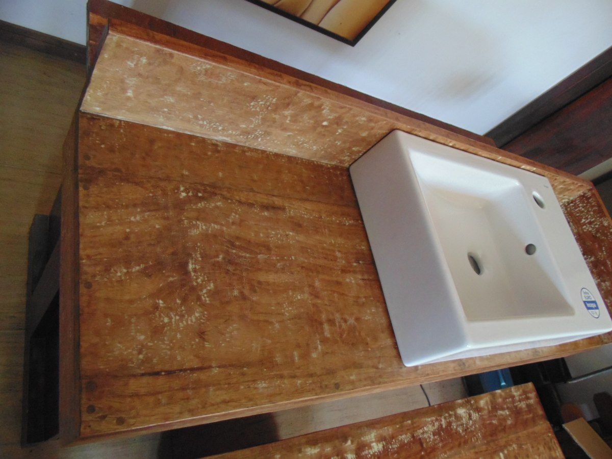 Bancada Lavabo Em Madeira De Demolição Banheiro Cuba R$ 189 90 no  #704526 1200x900 Bancada De Banheiro Em L