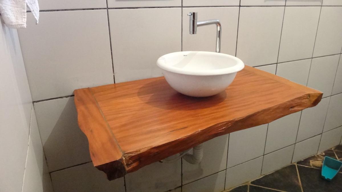 Bancada Para Banheiro Ou Lavabo Em Madeira Peroba Rosa  R$ 400,00 no Mercado -> Cuba Para Banheiro Em Madeira