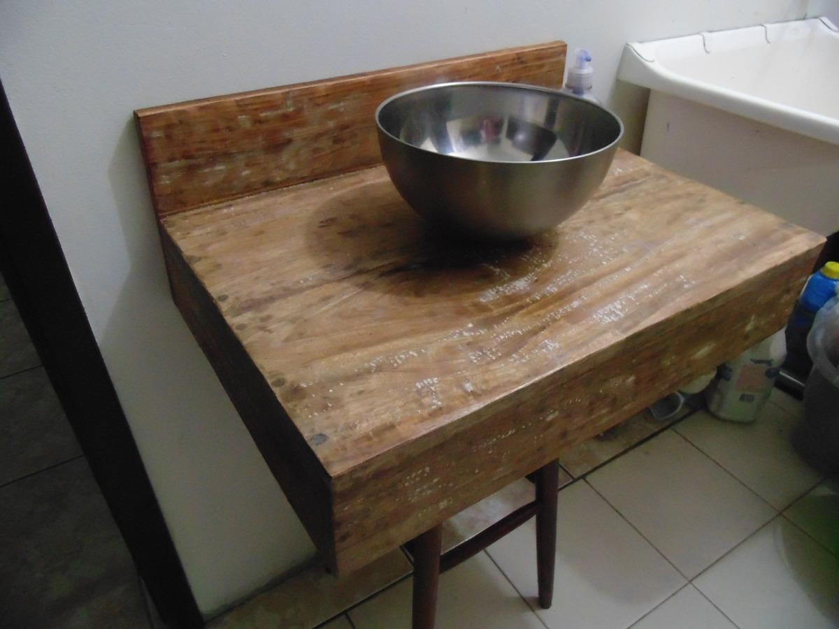 Bancada Pia Lavabo Em Madeira De Demolição Banheiro Cuba R$ 189 90  #24426D 1200x900