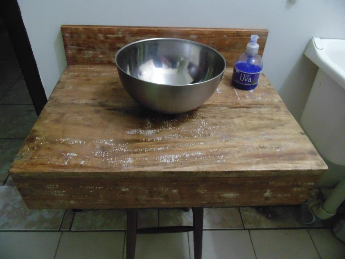 Bancada Pia Lavabo Em Madeira De Demolição Banheiro Cuba R$ 189 90  #614B30 1200x900 Bancada Banheiro Mercadolivre