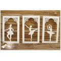 Quadro Trio Bailarina Mdf Pintado Decoração Provençal Balett
