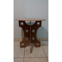 Mesa Provençal Vazada Estrelas Círculos Corações Mdf+tampo