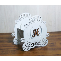 Kit 10 Cachepo Carruagem Princesas Principe Coroa Mdf Branco