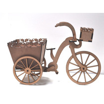 Bicicleta Cachepot - 50 X 30 Cm - Kit Provençal - Mdf Crú