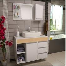 Gabinete / Armário Banheiro Fit Supreme 1 Metro Comprimento