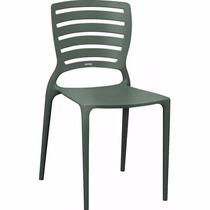 02 Cadeira Sofia Com Encosto Vazado Cor Grafite Tramontina